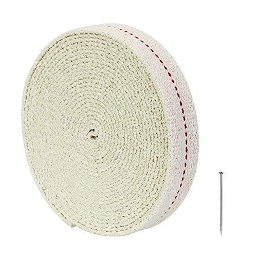 DECARETA Rotoli di Stoppino per Lampada ad Olio, 100% Cotone di Alta qualità, Stoppino Piatto, 4,5 m di Lunghezza, 2,0 cm di Larghezza per Lampada a P