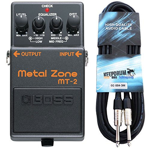 Boss MT-2 Metal Zone Distortion Pedal + keepdrum Gitarrenkabel