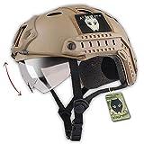 ATAIRSOFT Fast PJタイプ タクティカル アウトドア エアソフトヘルメット 通気性 多機能サバゲーヘルメットゴーグル付き マウントレール付き ABS製 戦術ヘルメット (カーキ)