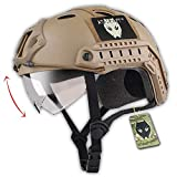 Casco in stile militare, con occhialini, per Airsoft e Paintball