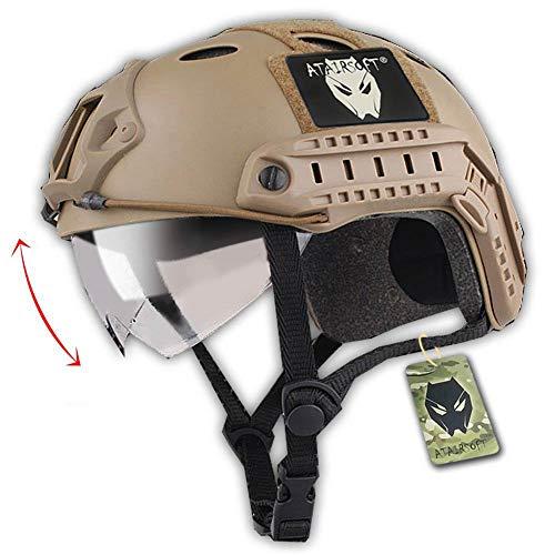 Softair Taktisch Armee Militär SWAT Kampf PJ Typ Schneller Helm DE mit Schutzbrillen für CQB Airsoft Paintball Schießen