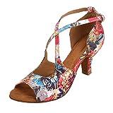 "HXYOO Indoor Dance Shoes Women for Latin Ballroom Salsa Floral Satin 3"" 2.5"" 2"" Heel (8.5, 2.5"" Heel-White)"