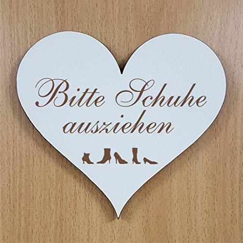 BITTE SCHUHE AUSZIEHEN Herz Schild ca. 13 x 12 cm - mit Motiv - selbstklebendes Türschild