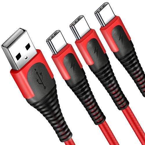 XLTOK USB C Kabel, Type C Ladekabel 3 Stücke 2M, Geeignet für Typ C Geräte Kompatibel mit Samsung Galaxy S20 S10 S9, S8+, S8, Huawei, HTC, Nexus, Lumia, OnePlus, Tablet und viele mehr - Rot