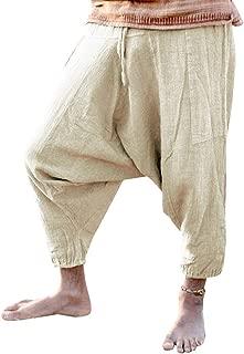 Mens Ankle Pants Joggers Drawstring Medieval Viking Renaissance Drop Crotch Trousers
