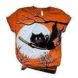 Camiseta de manga corta con diseño de gato en escoba, camiseta de bruja, camiseta de gato negro con cuello redondo, para mujer, naranja, XL