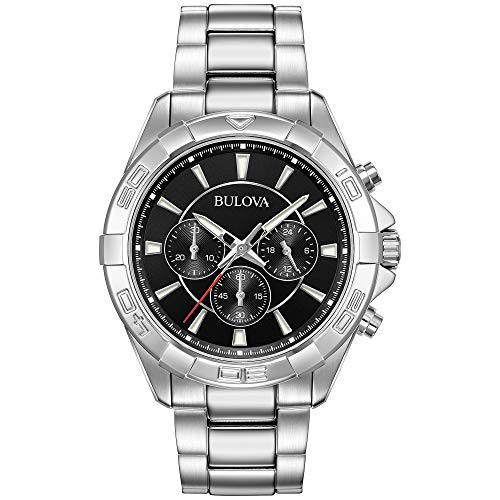 Bulova Men's 96A216 Chronograph Black Dial Sport Stainless Steel Watch