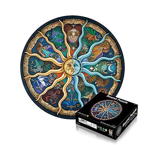 Anyingkai Puzzle Redondo 1000 Piezas,Puzzle 1000 Piezas,Puzzle Circular,Rompecabezas Redondo,Puzzle Adultos 1000 Piezas,Redondo Puzzle (12 constelaciones)