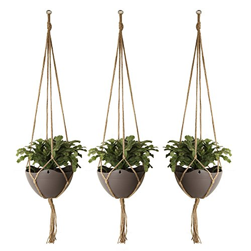 Vivifying 3 Stück 121cm Jute Pflanzenaufhänger, 4 Beinig Großer Pflanzenhalter für Dekorationen Drinnen & Draußen