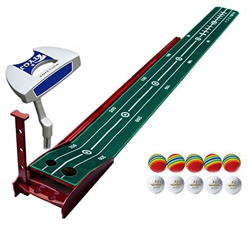 Mini Golf Puttingmatte Set Mit Putter,tragbar Putten Trainer Matte Mit 6 Kugeln,professionelle Golf Trainingsgeräte Für Indoor B 300x30cm(118x12inch)