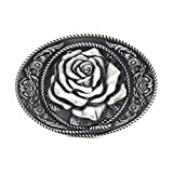 MASOP Antique Flower White Rose Women Belt Buckle Trendy Cowgirl Cowboy Buckles