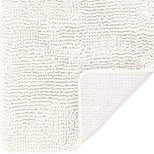 DEARTOWN Non-Slip Shaggy Bathroom Rug (White,27.5x47 Inches),Soft Microfibers Chenille Bath Mat with Water Absorbent, Machine Washable