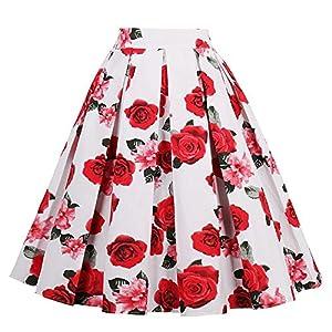フリル付きスカート、レトロレディローズフローラルプリントプリーツスケータードレス、毎日のデートパーティーなど