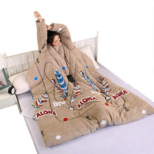STAD Faule Steppdecke mit Ärmeln, multifunktional, tragbar, für den Winter, hält warm, verdickt, gewaschenes Kissen, Decke für Hausaufgaben, Spiele, Handy, Feder
