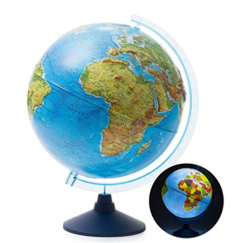 Exerz 32cm Relief Illuminated AR GLOBE with Cable Free LED Light- Physical/Political Dual Map- Augmented Reality App iOS Android - Light Up Globe