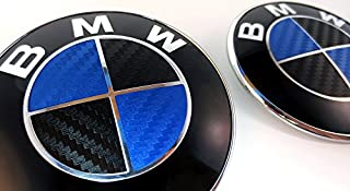 BLACK and BLUE Carbon Fiber Sticker Overlay Vinyl for All BMW Emblems Caps Logos Roundels