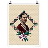 Bilderwelten Poster - Frida Kahlo - Blumen und Geometrie Selbstklebend seidenmatt 100 x 75cm