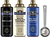 Ghirardelli - Sea Salt Caramel, Chocolate and White Chocolate Flavored Sauce (Set of 3) - with...