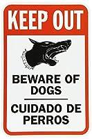 警告サイン 伝説は外に出てはいけません 犬に注意してください, グラフィックのある普通のサイン, 白地に黒/赤 道路標識 ビジネス・サイン 8X12インチ アルミ・メタル・ティン・サイン