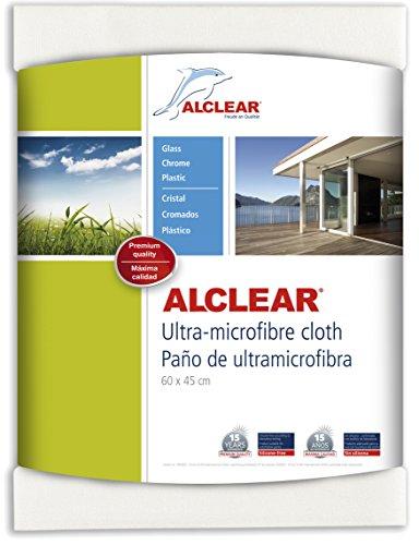 ALCLEAR 950002 Panno in Microfibra per finestre - Ideale Come Panno per Pulire i vetri dell'Auto e la casa, finestre & cromature - 60x45 cm, Bianco