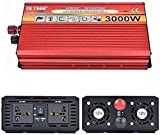 Transformador de voltaje 3000W, inversor de potencia de automóvil 12V / 24V a 110V / 220V / 230V onda sinusoidal pura, inversor de onda sinusoidal pura, 2 cock de CA, para automóvil, caravana, barco,
