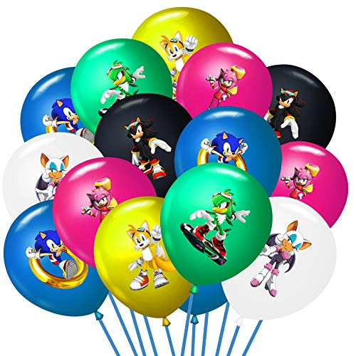 36PCS Sonic The Hedgehog Balloons, 12 inch Latex Balloons Birthday Party Supplies or Sonic The Hedgehog Theme Party Decorations, Includes 6 Character Printed Ideal for Kids Party Favors