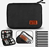 Electronic Organizer Waterproof Portable Travel Cable Accessories Bag Soft Case with 10pcs Cable Ties for USB Drive Phone Charger Headset Wire SD Card Power Bank(Black)