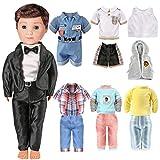 lausomile 18 inch Boy Doll Clothes - American Boy Doll Clothes, 18 Boy Doll Daily Casual Clothes Denim Jumpsuits Sportswear Sweater Plaid Polo Shirt Tuxedo Suits for Boy Dolls