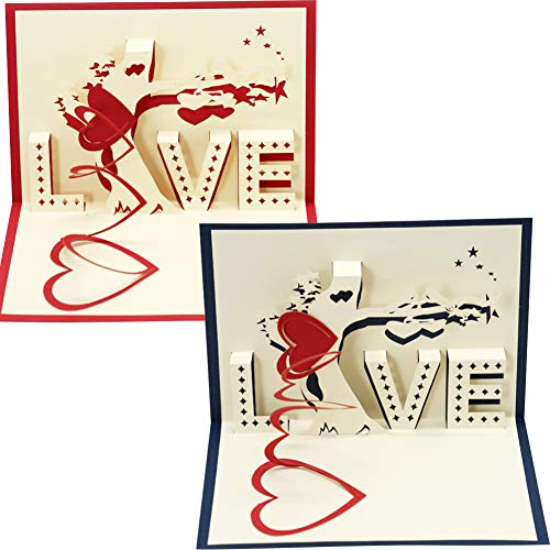 2PCS Valentine's Day Card, Creative LOVE Heart Tree 3D Pop Up Paper Greeting Card Festival Birthday for Her, Mum, Wife, Lovers, Valentines, Birthday, Anniversary, Wedding Gift