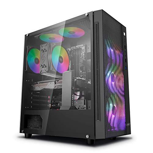 DeepCool Matrexx 55 Mesh Case ATX PC Gaming 0.6MM SPCC con 4 Ventole 120mm RGB Rainbow Addressable 5V ADD Front Panel Mesh & Pannello Laterale in Vetro Temperato (AxPxL 480x440x210 mm)