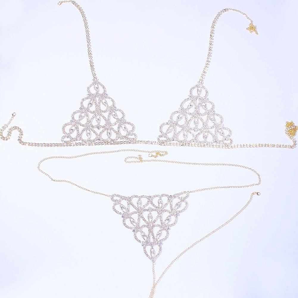 EEKLSJ Sexy Rhinestone Underwear Body Chain Bikini Set for Women
