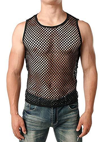 Chaleco sexy de malla para hombre, entrenamiento de gimnasio ahueca hacia fuera Muscle Clubwear Tank Top