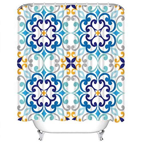 Duschvorhang setzt blau mediterran auf italienischen Fliesen Majolika Muster abstrakt antikes Polyester Stoff Dekor mit 12 Haken wasserdicht waschbar 12 Knopflöcher für Badezimmer