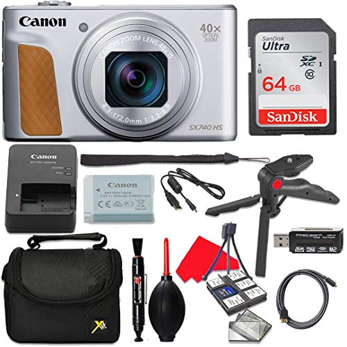 Canon PowerShot SX740 (Silver) HS Digital Camera with 4K Video + Accessories (10 Items)