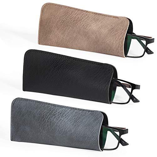 Hifot Funda Gafas 3 Piezas, PU Cuero Suaves Estuche Gafas Lectura Almacenaje, Caso Bolsa Gafas para Hombre Mujer