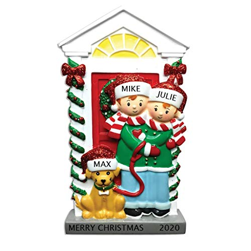 2020 Personalized Ornament Couple with Dog Christmas Tree Ornament Handwritten Customized Decoration Wedding Ornament-Free Personalization
