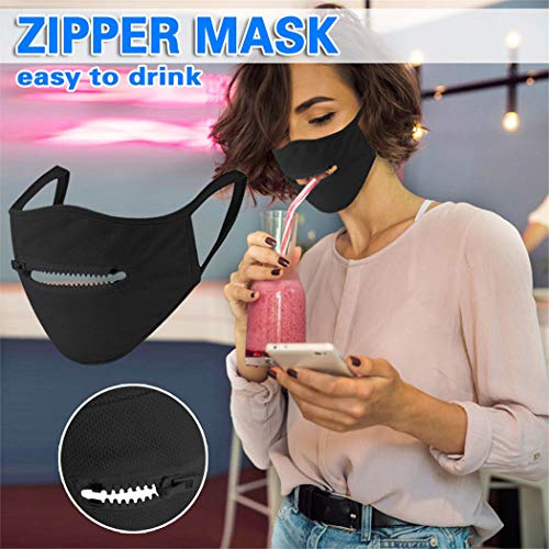 Genbree Mouth Cover with Zipper Opening Mouth Covering Washable and Reusable Masquerade Party Jewelry for Women Men…