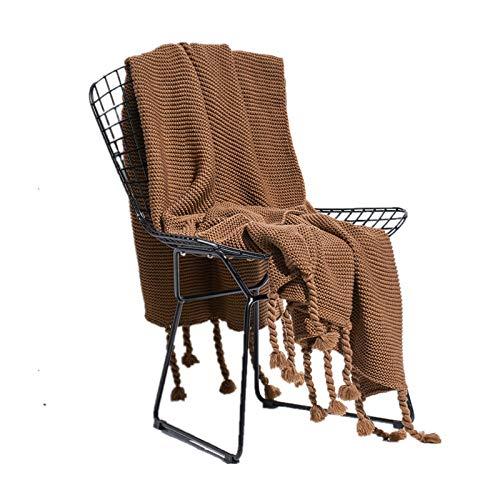 HYMY Soft Fluffy Throws Decken Nordic Klimaanlage Einzelmittagspause Sofa gestrickte Troddel-Decke für Sofa/Stühle/Bett (Color : Brown, Size : L)