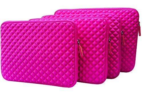 """AZ-Cover 10.1-Inch Case Simplicity & Stylish Diamond Foam Shock-Resistant Neoprene Sleeve (Hot Pink) For Best Value Tablet with HDMI ValuePad VP112-11 10.1"""" Hybrid Tablet + One Capacitive Stylus Pen"""