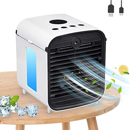 Nifogo Air Mini Cooler Portable Conditioner, 4 in 1 Personal Cooler and Humidifier, Purifier and Fan, 3 Fan Speeds, 7 LED Lights for Small Home Bedroom Office (White)