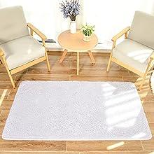HEXIN alfombras pie de Cama,Alfombras de Moderna para Salon de Estar de Pila Gruesa No se desprenden y Alfombra de Dormitorio; Alfombra Peluda Hágase cómodo (Beige, 60x90cm)