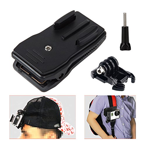 Hapurs Backpack Hat Clip, 360 Degree Rotation and Quick Release Clamp Mount to move camera between different locations or at more desired angles for Gopro hero 4,Gopro hero 3+,Hero 3 Hero 2 Hero 1, HD & SJ4000 Hero cameras,xiaomi xiyi cameras