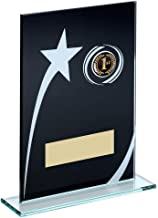 Lapal Dimension Blk/wit bedrukt glas Plaque met Shooting Star Trophy (1in Centre) - 6.5in