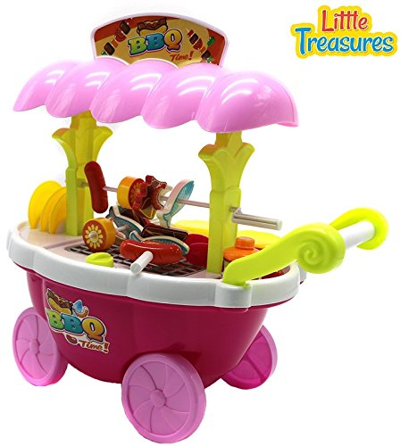 Little Treasures Kids Small Sized Barbeque Grilling Cart Playset