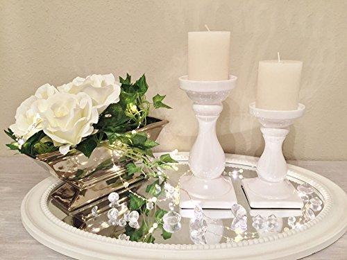 DRULINE Keramik Kerzenleuchter SCHICK Kerzenständer Weiß Windlicht Kerzenhalter Ständer Klein (17,5 cm)