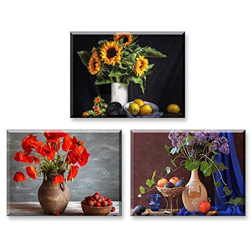 PIY PAINTING Cuadro Sobre Lienzo - Imagen Bella Flor Girasol, Impresión Flor Roja en Florero Vintage Pinturas Murales Decor Dibujo con Marco para Sala de Estar Regalo de Cumpleaños 3x 30x40cm