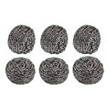 Comfecto Stainless Steel Scrubber Sponge for Scouring Scrubbing Kitchen Bathroom and More, Pack of 6 50g Steel Scourer for Dish Bowl Cleaner BBQ Grill, Remove Grease Oil Dirt Stain Without Scratch