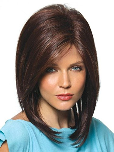 Jackson Wig Color Chocolate Swirl - Noriko Wigs 9' Layered Mid-Length Tease Ends Synthetic Open Weft Avg Cap Bundle w/Comb, Maxwigs Hairloss Booklet