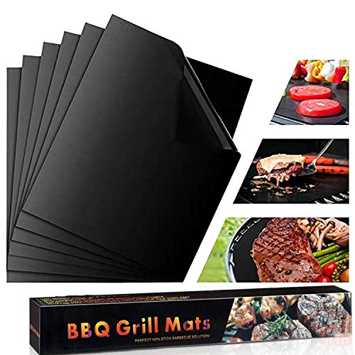 KITMA BBQ Grill Mat, Set of 6 Non - Stick Backing Mats, Reusable, Easy to Clean Barbecue Grilling Accessories, Works on Gas, Charcoal, Electric Grill, 13×15.75 Inches, Black
