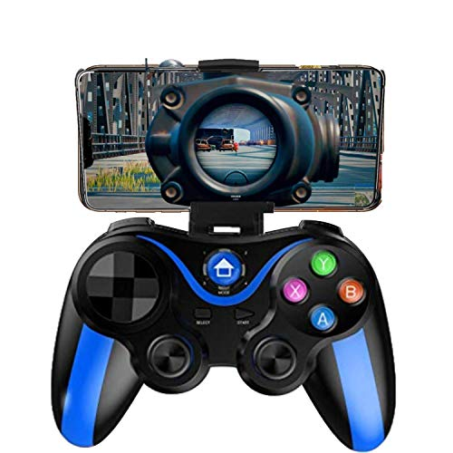 Mobile Controller for The Most Games, Mobile Gamepad Wireless Game Controller Joystick for Android iOS, Key Mapping, Shooting Fighting Racing Game-NO Supporting iOS 13.4 or abover (Blue-Black)